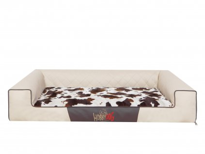 Pelíšek pro psa LUX Victoria béžový a bílá kravička1