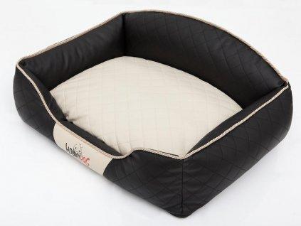 Pelíšek pro psa Elite černý a béžová matrace1