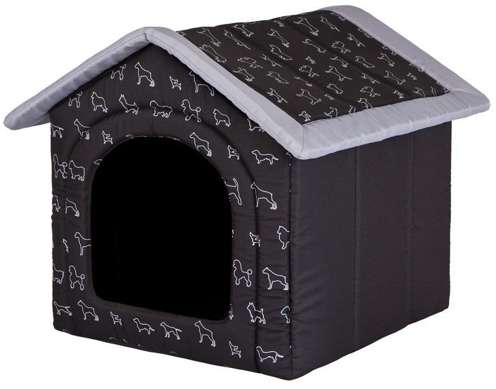 HobbyDog Pelíšek pro psa Bouda - černá potisk Velikost: R1 - 38 x 32 x 38 cm