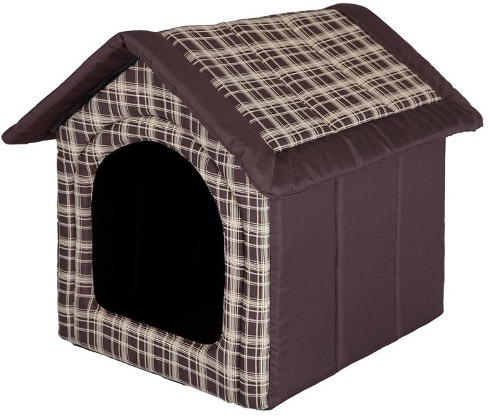 HobbyDog Pelíšek pro psa Bouda - hnědá kostka Velikost: R1 - 38 x 32 x 38 cm