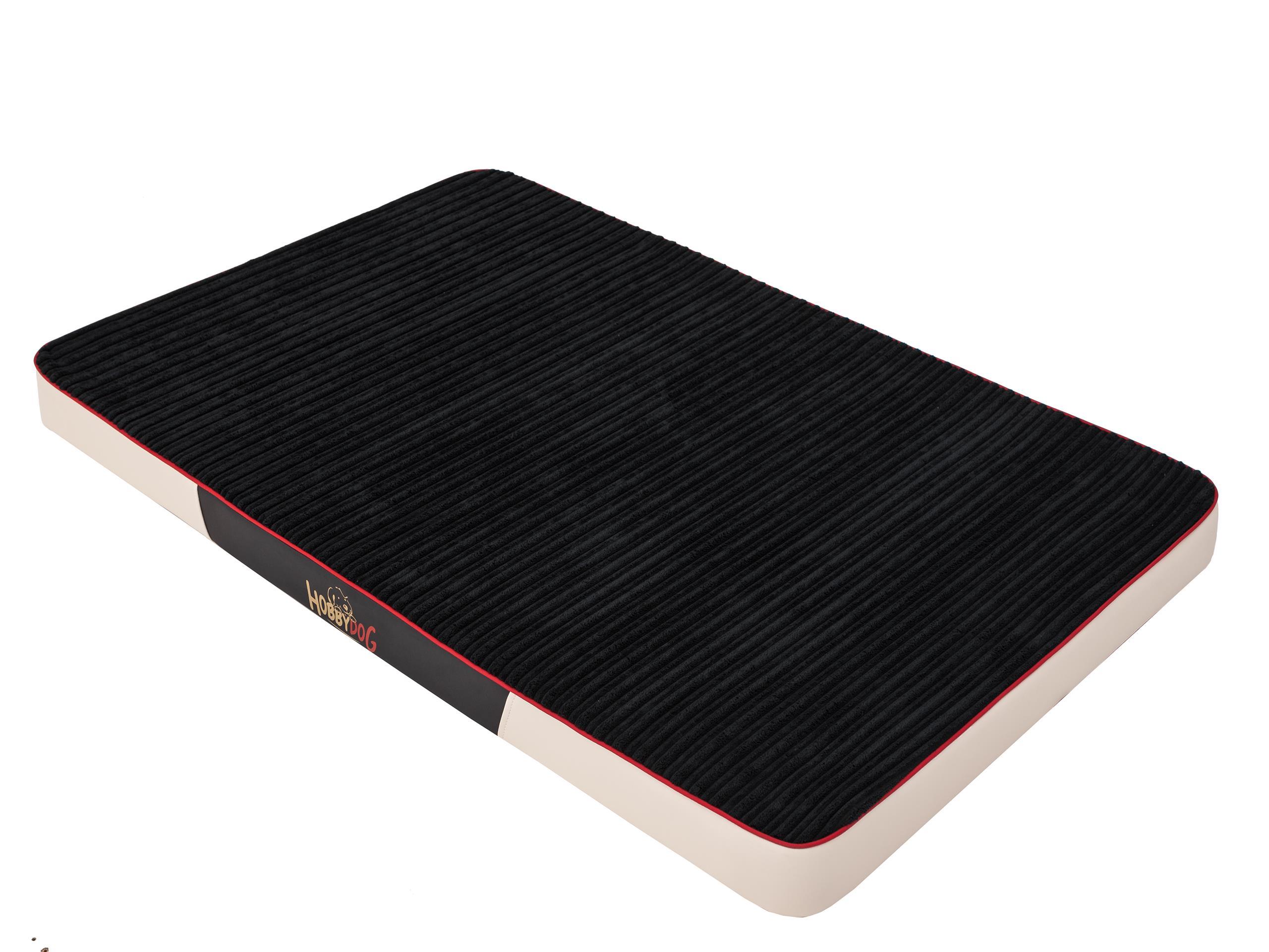 HobbyDog Ortopedická matrace pro psa Premium Manšestr - černá s béžovou Velikost: L - 100 x 67 x 8 c