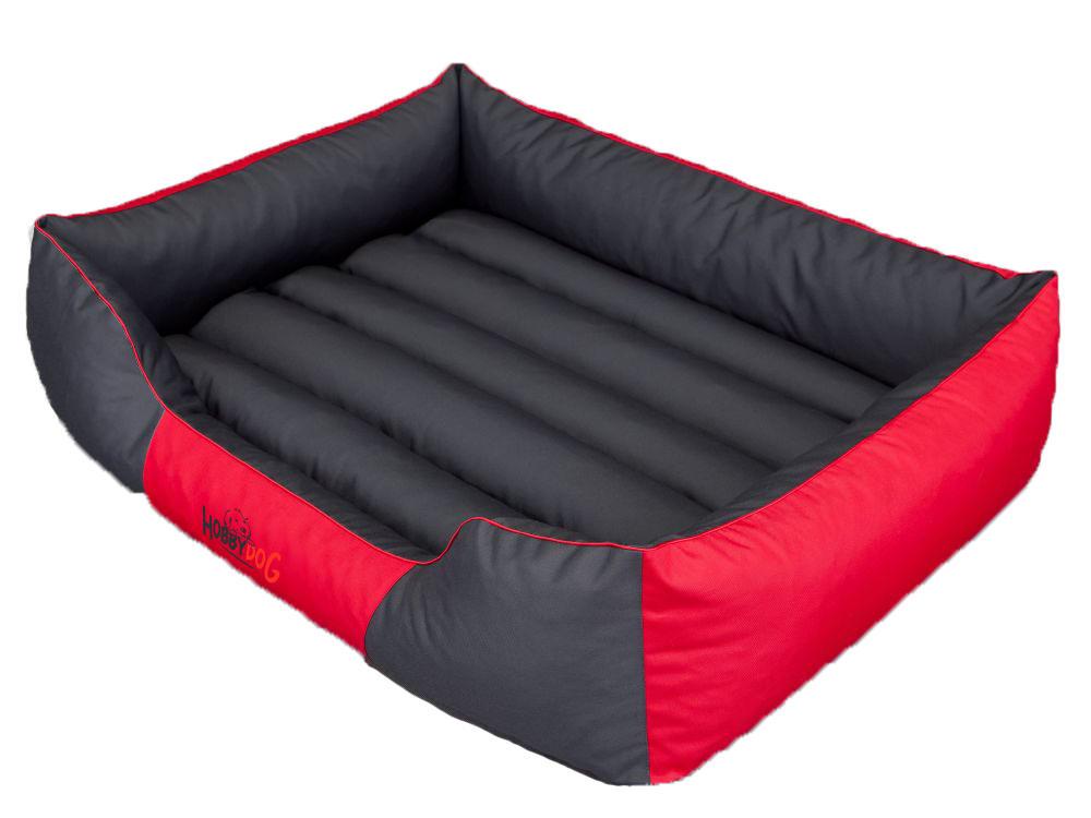 HobbyDog Pelíšek pro psa Comfort - červený s šedou Velikost: L - 65x50 cm (45x32 cm)