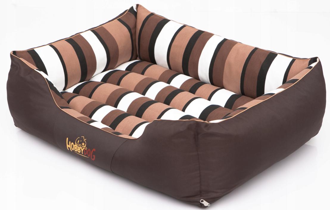 HobbyDog Pelíšek pro psa Comfort - hnědý a pruhy Velikost: L - 65x50 cm (45x32 cm)