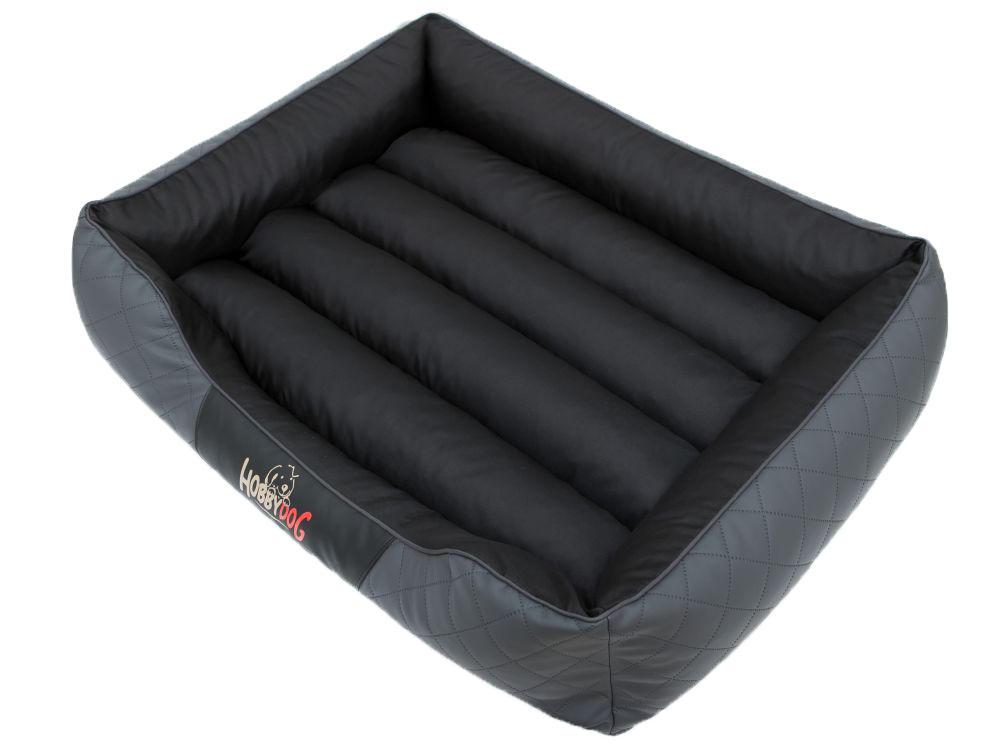 HobbyDog Pelíšek pro psa Cesar Standard - černý s šedou Velikost: R1 - 65x52 cm (41x31 cm)