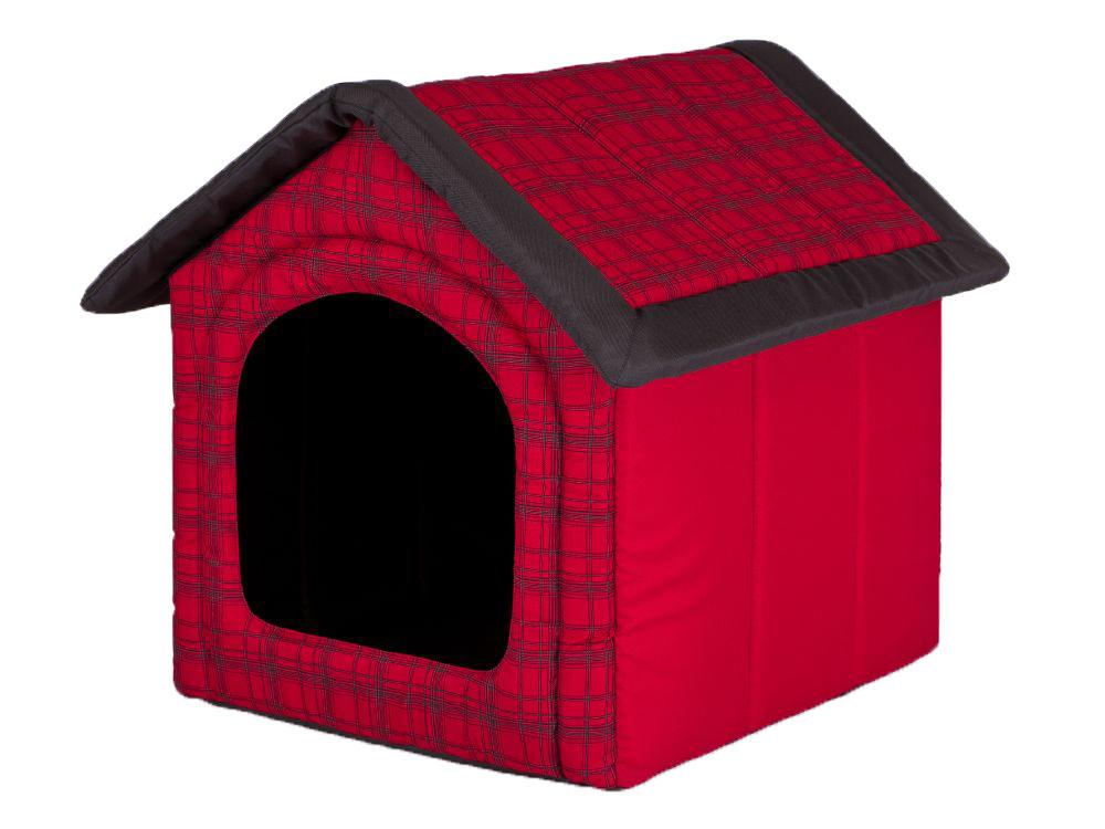 HobbyDog Pelíšek pro psa Bouda - červená kostka Velikost: R1 - 38 x 32 x 38 cm