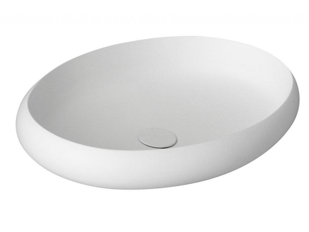 THIN oválné umyvadlo na desku, 60x40x11,2cm, bílá mat