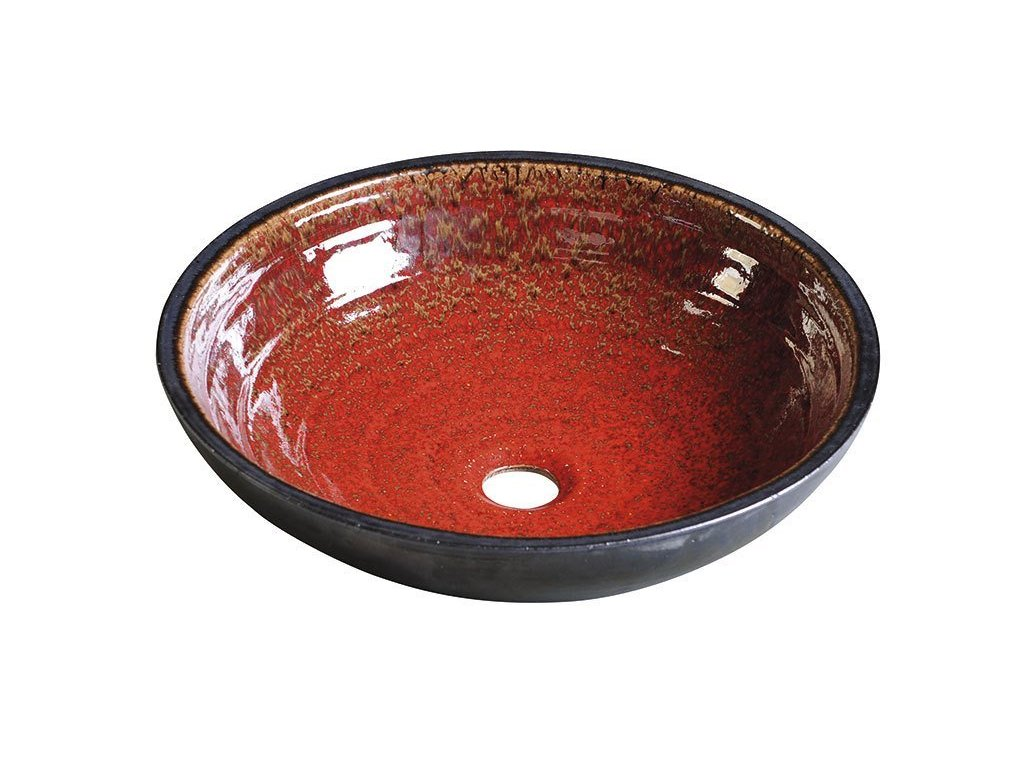 ATTILA keramické umyvadlo, průměr 42,5 cm, tomatová červeň/petrolejová