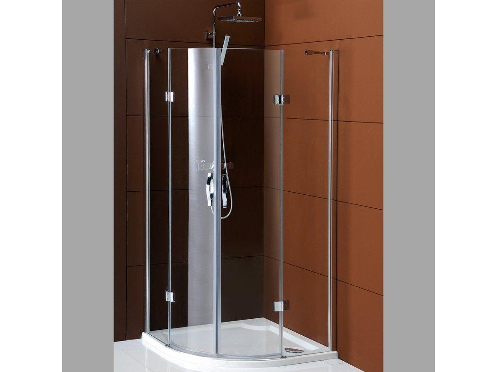 LEGRO čtvrtkruhová sprchová zástěna dvoukřídlá 1000x1000mm, čiré sklo