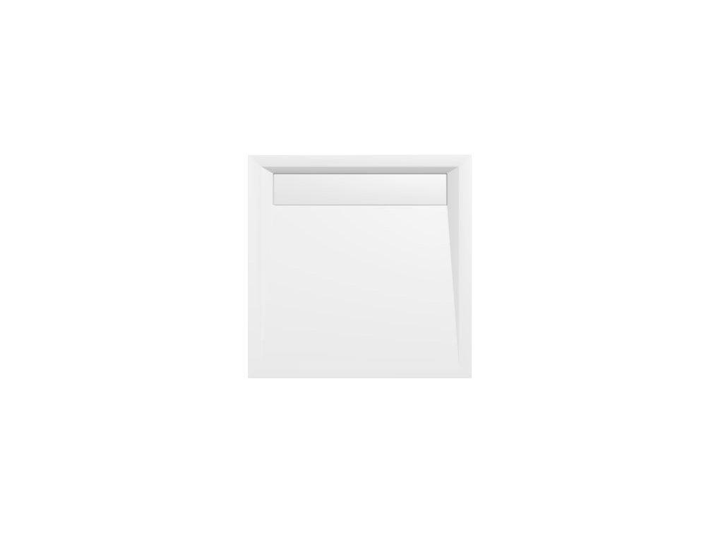 ARENA sprchová vanička z litého mramoru se záklopem, čtverec 90x90x4cm, bílá