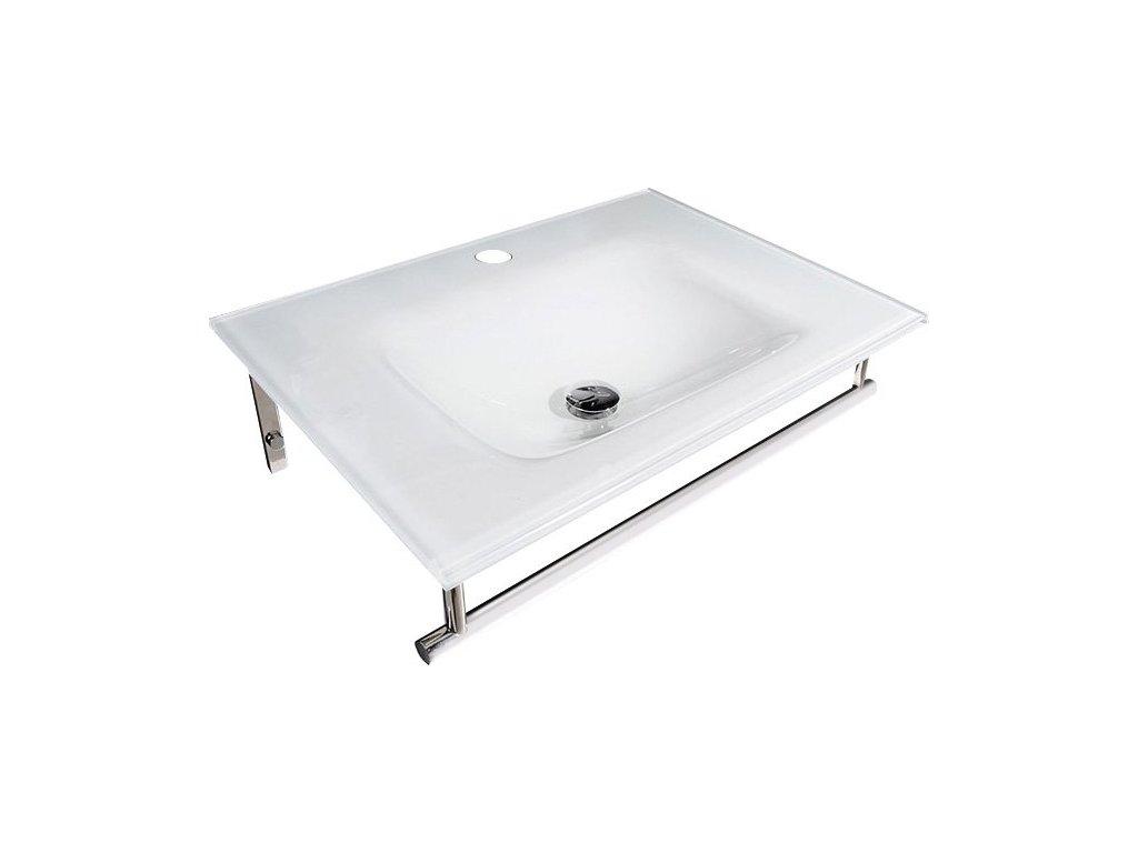 MADLEN skleněné umyvadlo s nerezovou podpěrou 70x50cm, bílá porcelán