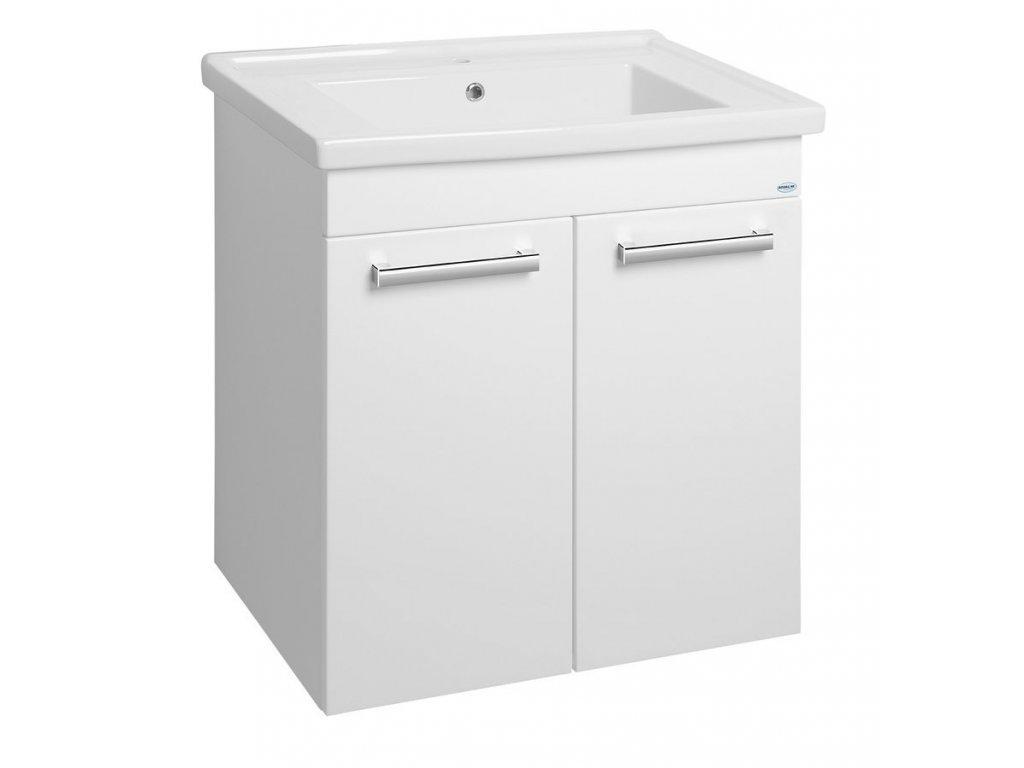 POLY umyvadlová skříňka 66x74,6x46,5cm, 2xdvířka, bílá
