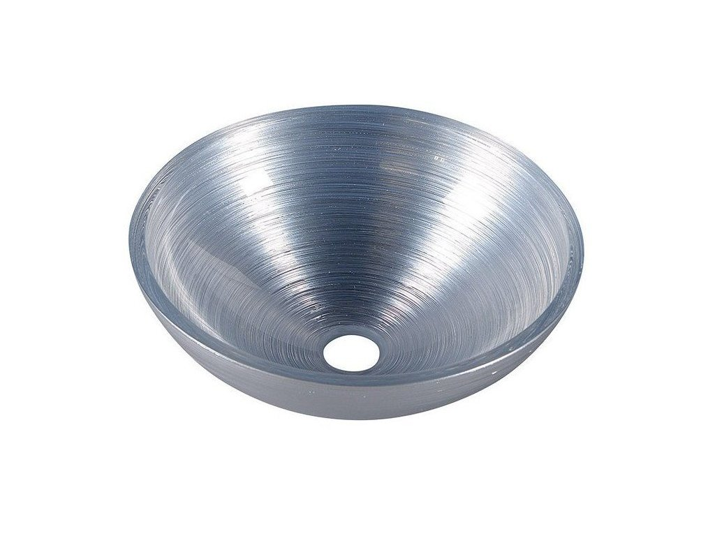 MURANO SILVER skleněné umyvadlo kulaté 40x14 cm, stříbrná