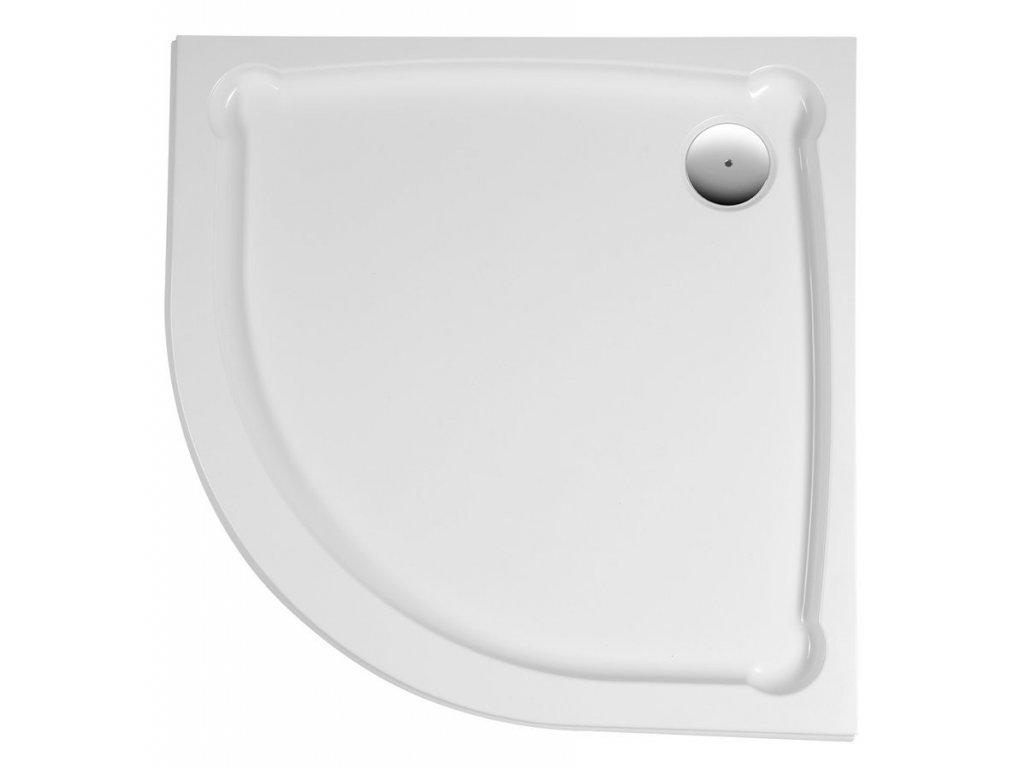 HERA sprchová vanička z litého mramoru, čtvrtkruh, 90x90x7,5cm, R550