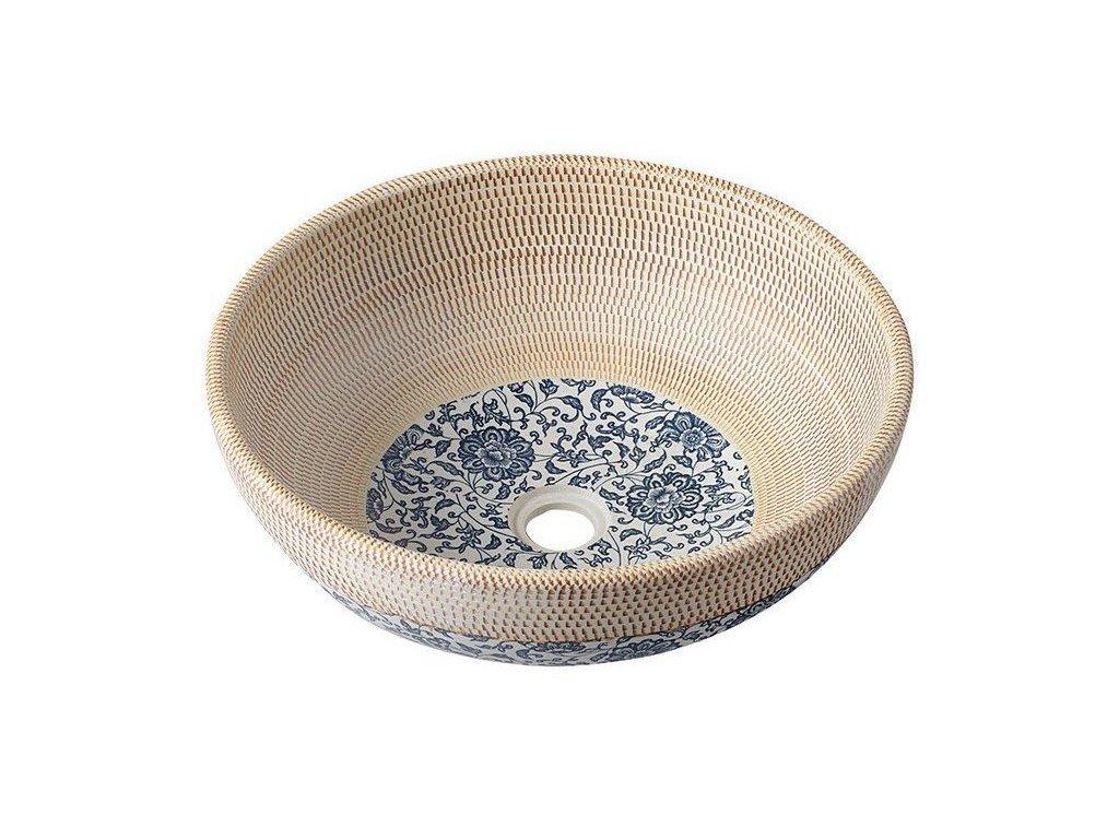 PRIORI keramické umyvadlo, průměr 41 cm, béžová s modrým vzorem