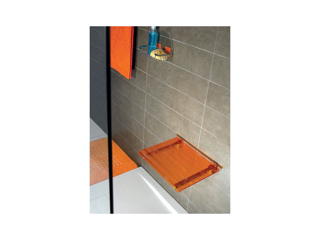 LEO sprchové sedátko 40x31cm, oranžová