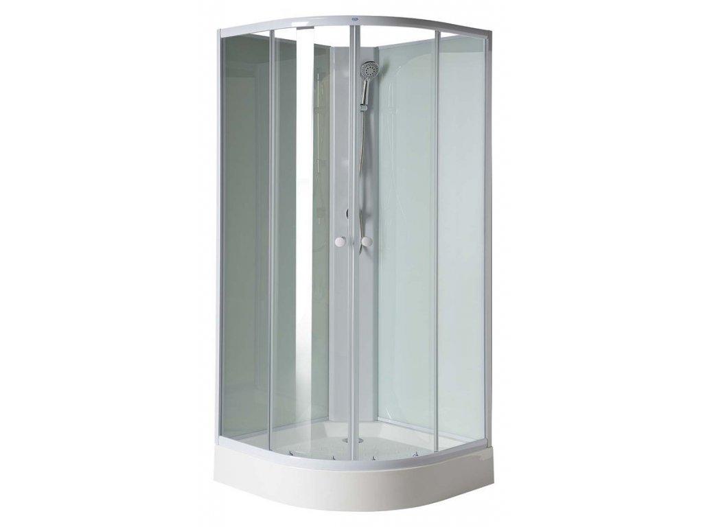 AIGO čtvrtkruhový sprchový box 900x900x2060 mm, bílý profil, čiré sklo