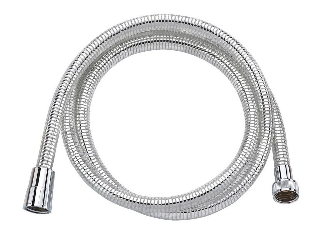 LASER plastová sprchová hadice, hladká, 200cm, chrom/bílá