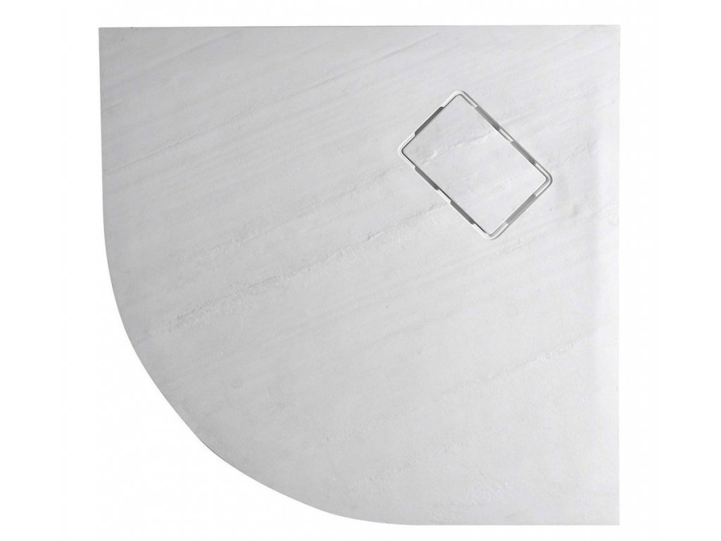 ATIKA vanička z litého mramoru, čtvrtkruh 90x90x3,5cm, R550, bílá, dekor kámen