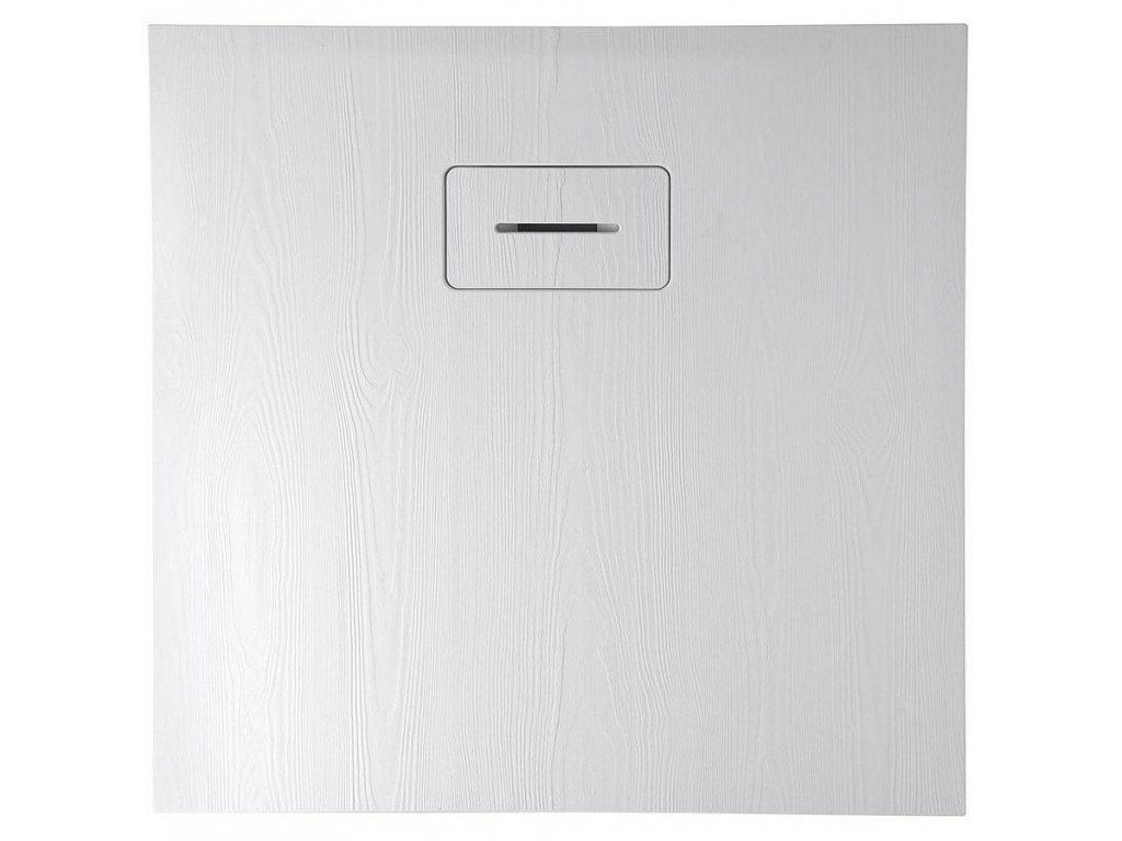 AMAR sprchová vanička z litého mramoru, čtverec 90x90x3,5cm, bílá, dekor dřevo