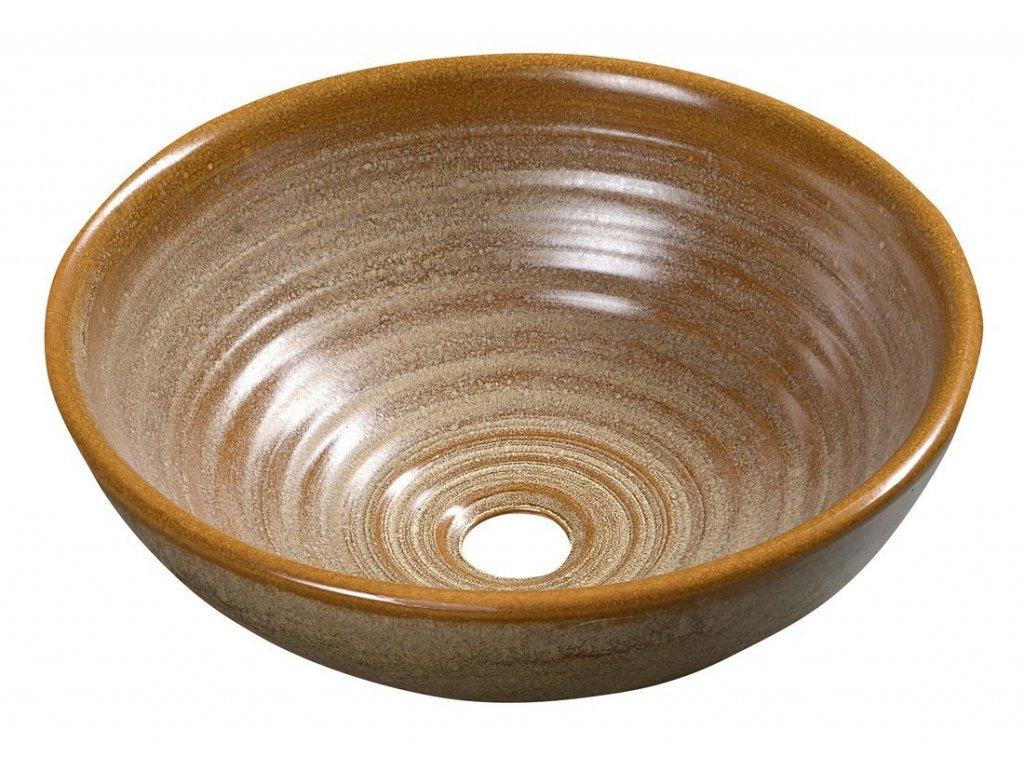 ATTILA keramické umyvadlo, průměr 42,5 cm, hnědá