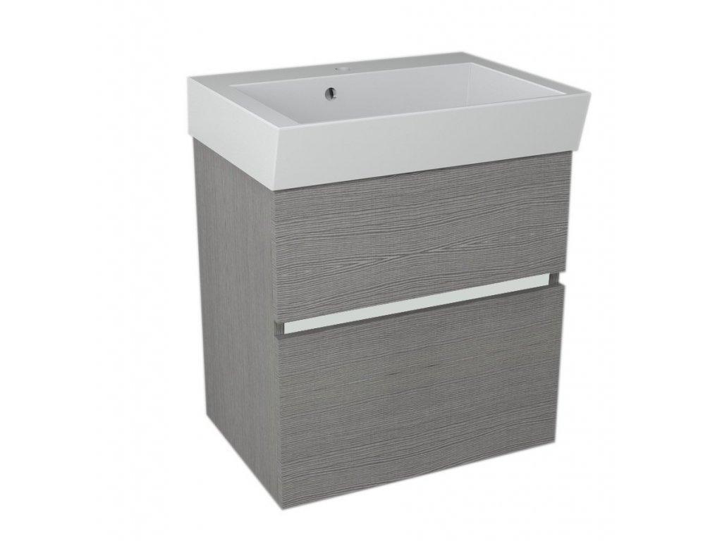 LARGO umyvadlová skříňka 59x60x41cm, dub stříbrný
