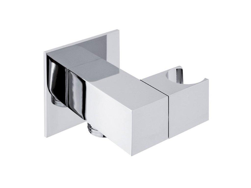 Držák sprchy hranatý, otočný, s vyústěním, chrom