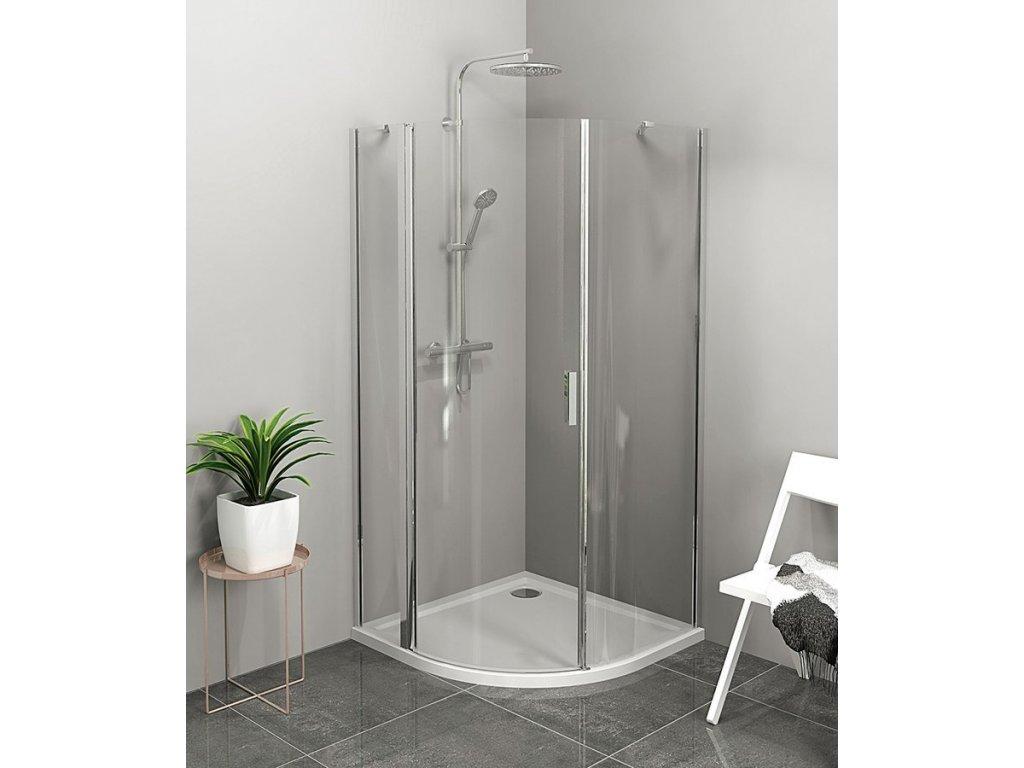 ZOOM LINE čtvrtkruhová sprchová zástěna 1000x1000mm, čiré sklo, levá