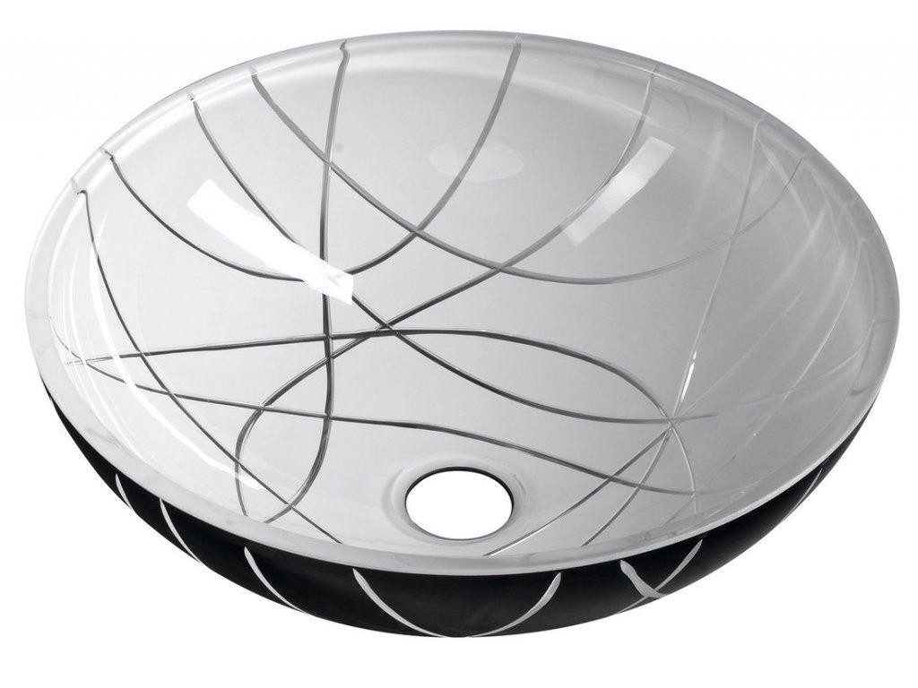 MURANO LINEA skleněné umyvadlo kulaté 40x14 cm, černá/bílá