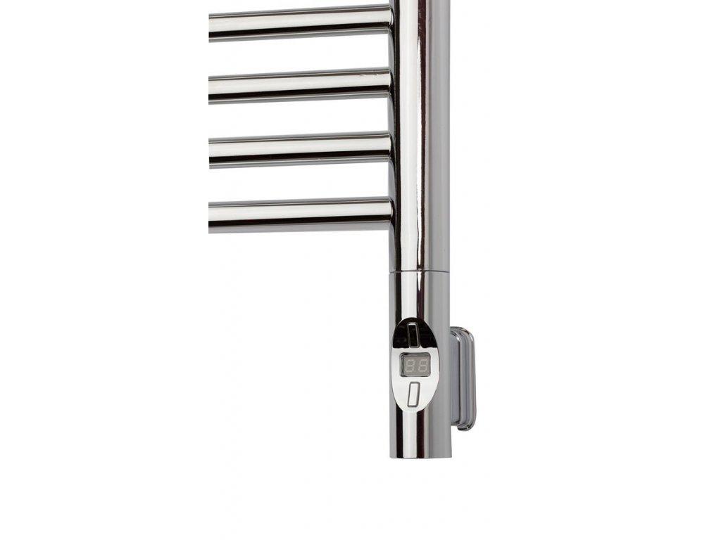 Elektrická topná tyč s termostatem a dálkovým ovládáním, 900 W, kulatá, chrom