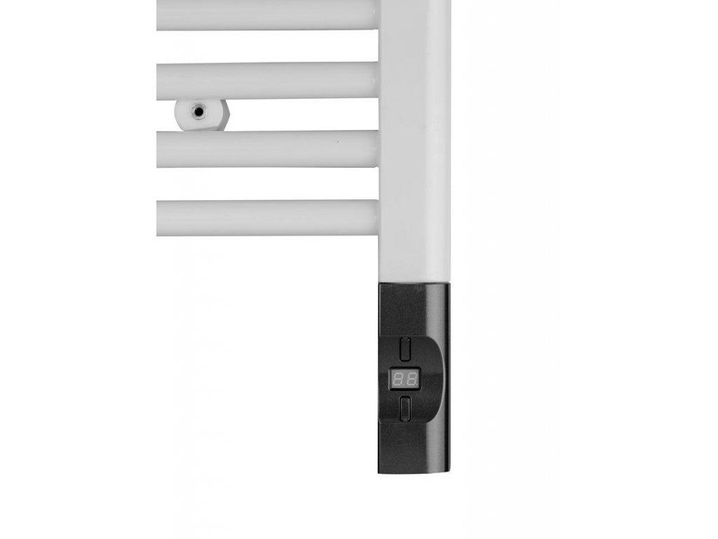 Elektrická topná tyč s termostatem a dálkovým ovládáním, 600 W, D-tvar, antracit