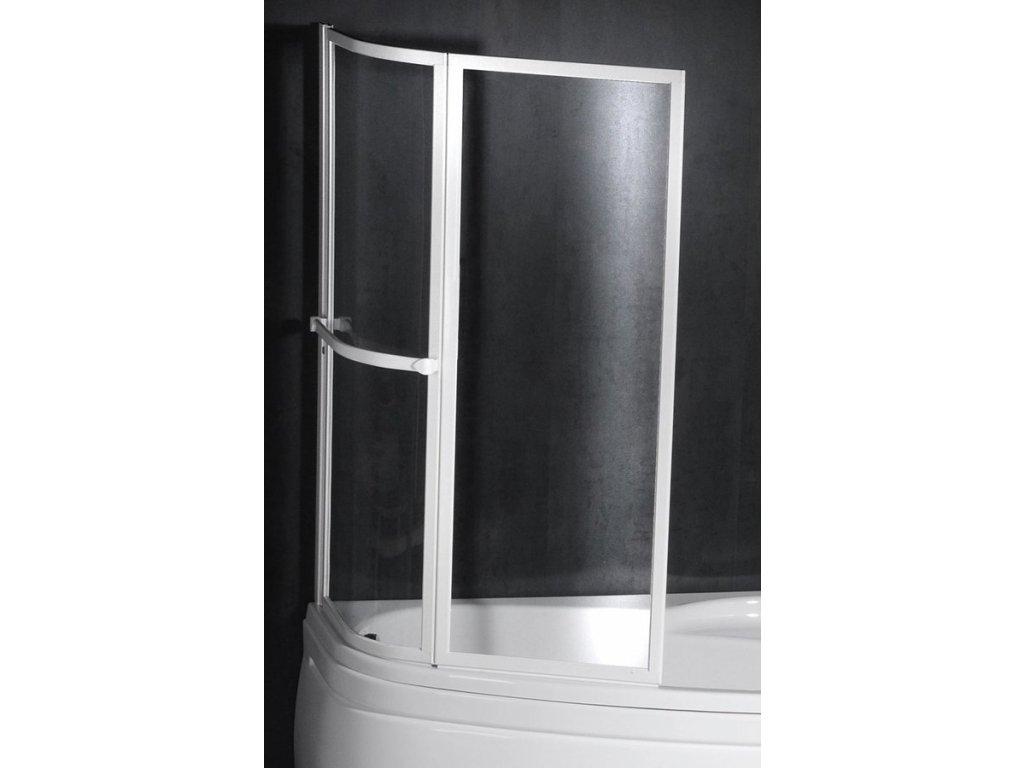 NAOS dvoudílná vanová zástěna pneumatická 1170mm, bílý rám, čiré sklo