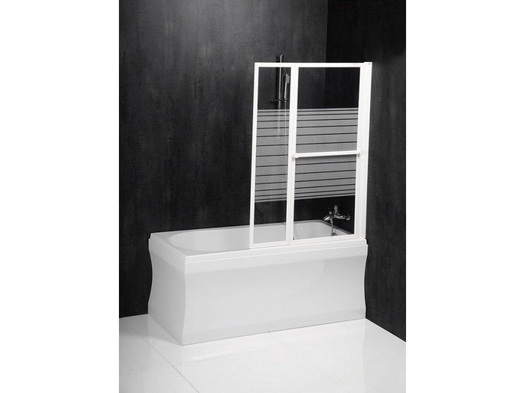 VENUS 2 pneumatická vanová zástěna 1060 mm, bílý rám, potištěné sklo