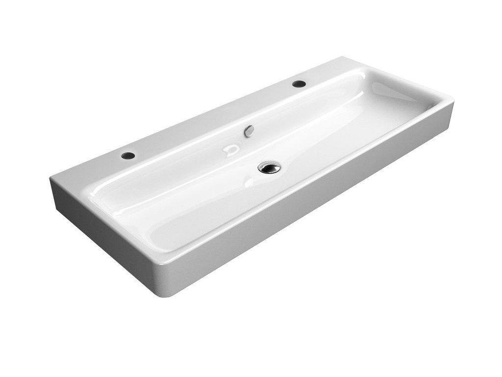 SAND keramické umyvadlo 120x50 cm, 2 OTVORY, bílá ExtraGlaze