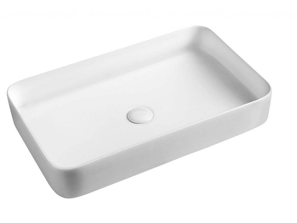BLADE keramické umyvadlo 65x11x40 cm, na desku, bez přepadu
