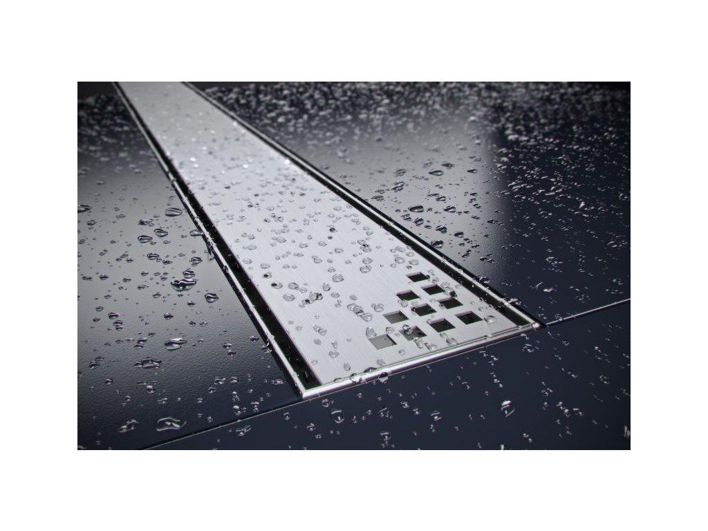 Quadro sprchový odvodňovací žlab SET (nerez dno + rošt QUADRO + izolační manžeta)