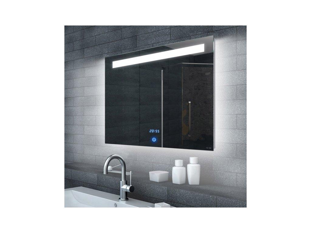 MALENA 60 až 160 cm – zrcadlo do koupelny s LED osvětlením a hodinami