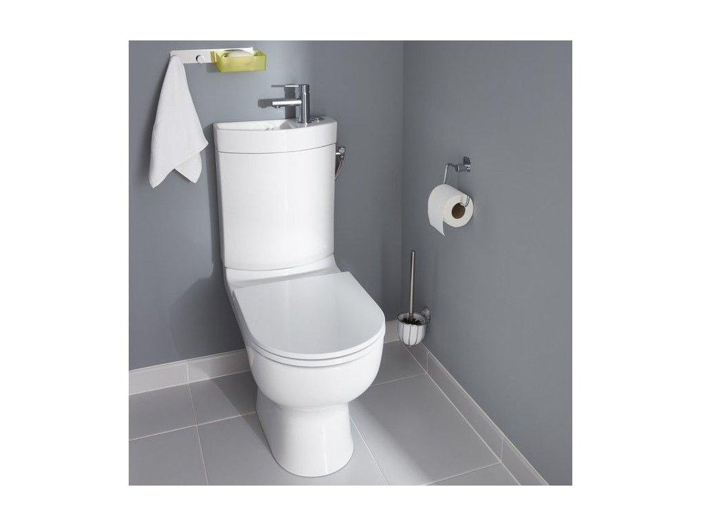 Kompakt WC Cavally bezkolnierzowy z umywalka i deska wolnoopadajaca 518100 485720