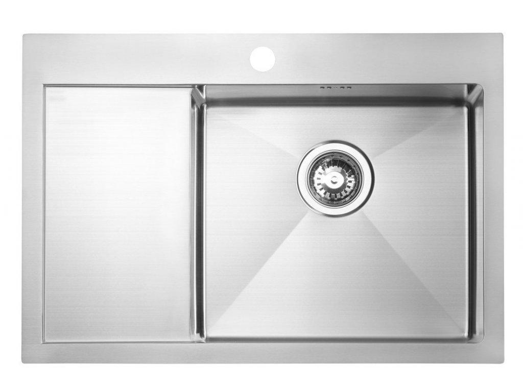 KIVA nerezový dřez s odkapem,69x48x20 cm, provedení P, R10