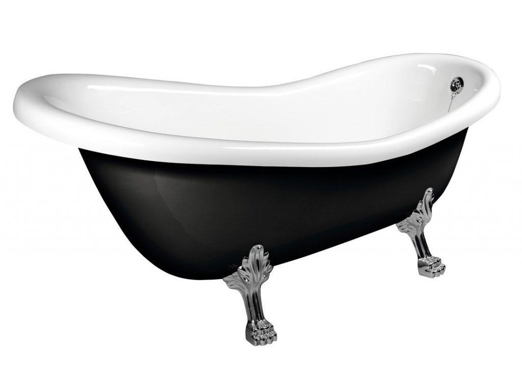 RETRO volně stojící vana 173x75x84cm, nohy chrom mat, černá/bílá