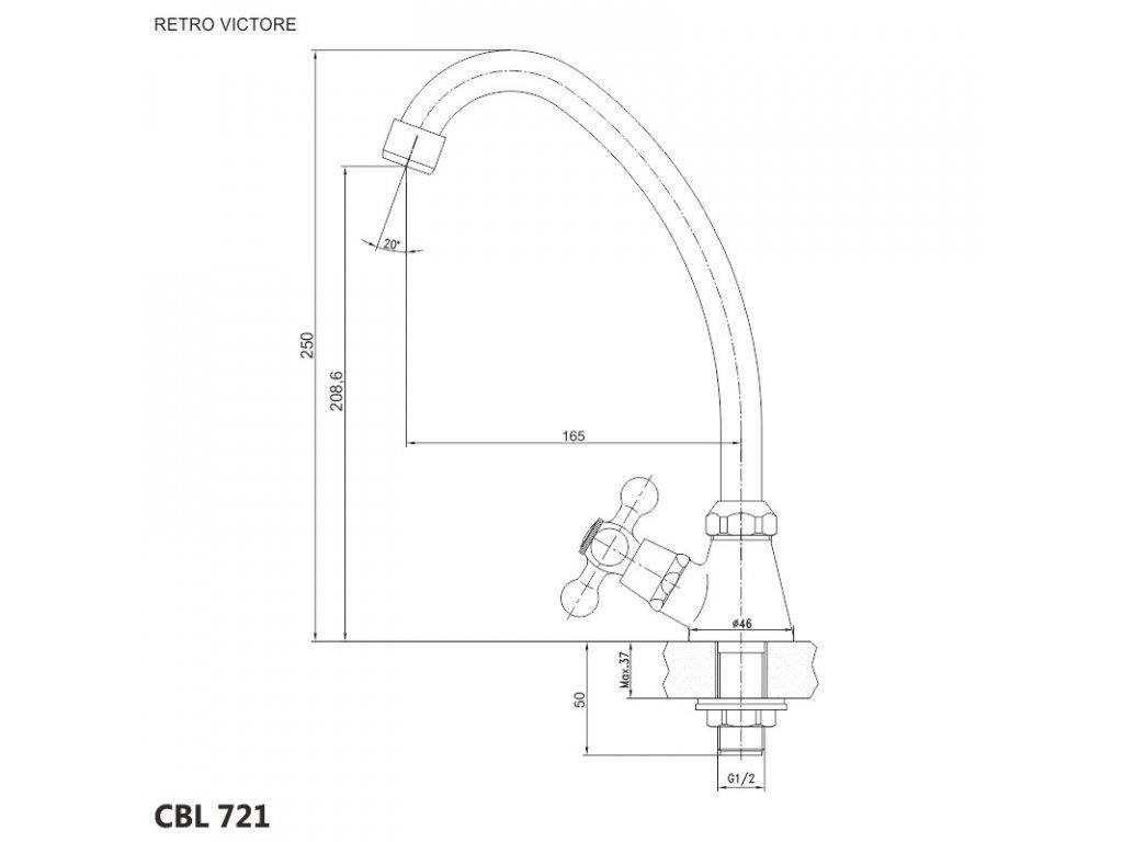 Dřezový kohoutek stojánkový, Retro Viktorie, výška 250 mm, chrom