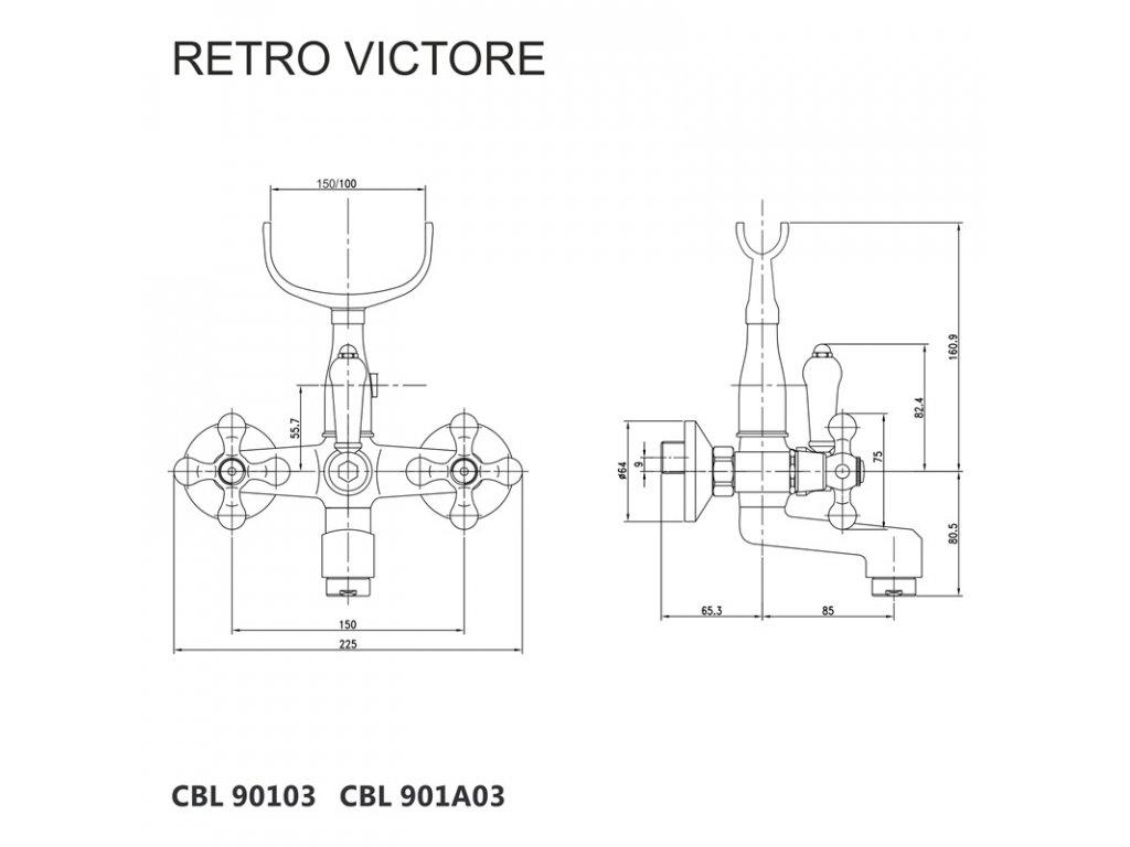Vanová nástěnná baterie, Retro Viktorie, 150 mm, bez příslušenství, chrom