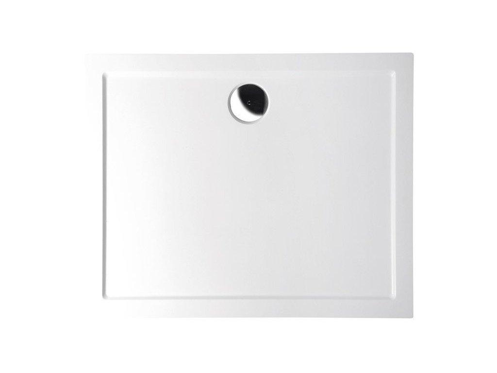 KARIA sprchová vanička z litého mramoru, obdélník 100x70x4cm, bílá