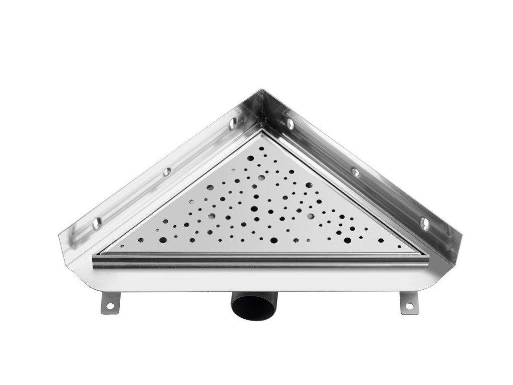 TRIANGL nerezový sprchový kanálek s roštem, do rohu ke zdi, 293x293mm