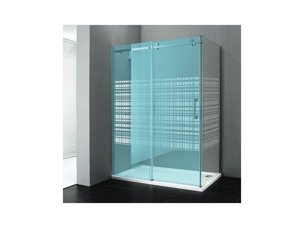 DRAGON boční stěna 900mm, sklo CANVAS, levé