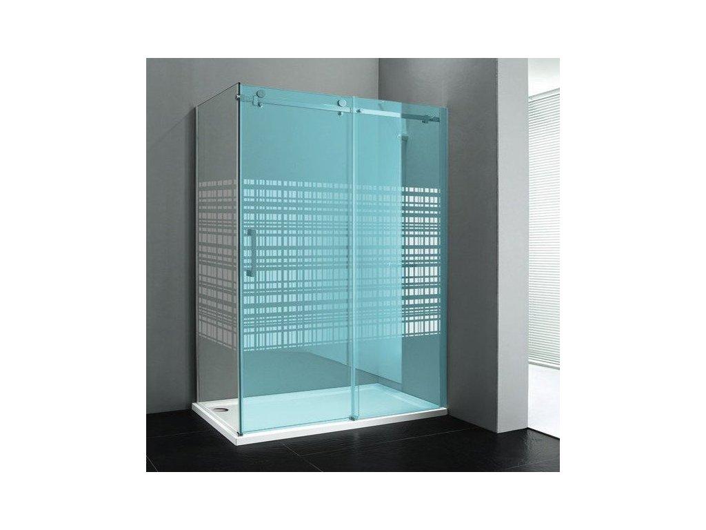 DRAGON boční stěna 900mm, sklo CANVAS, pravé