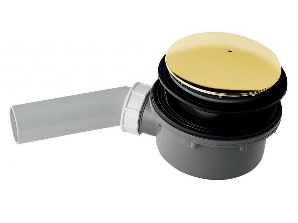 RETRO vaničkový sifon, průměr otvoru 90 mm, krytka zlato