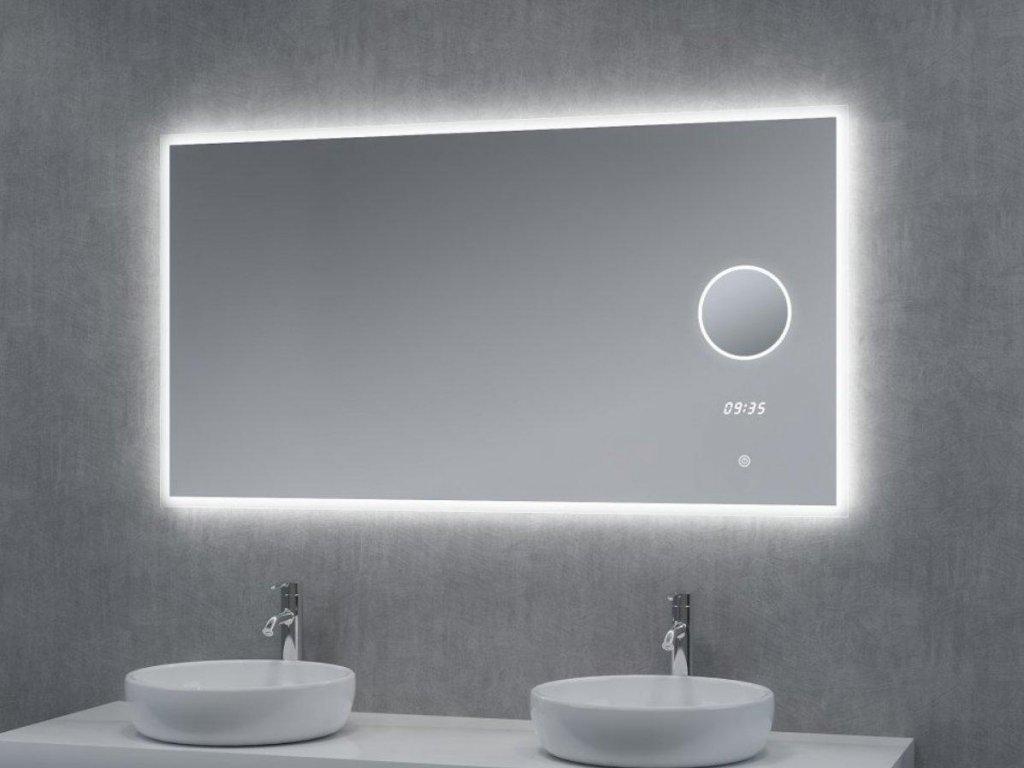 Zrcadlo LUMI 120x65cm s hodinami, lupou a LED podsvícením