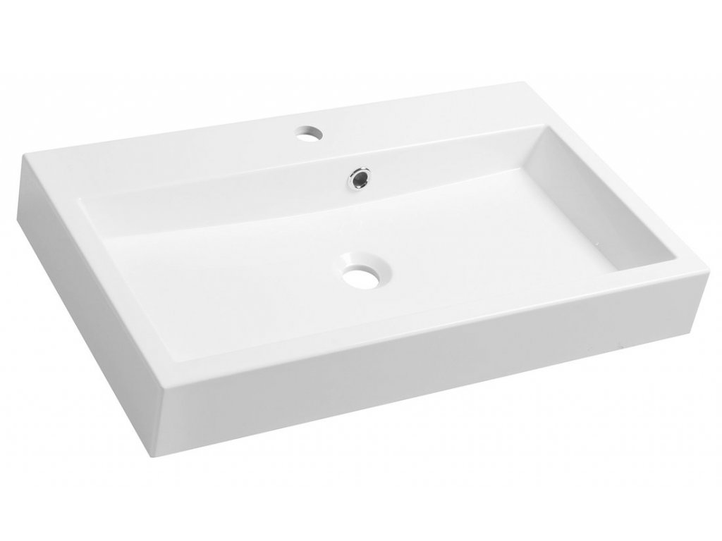 ORINOKO umyvadlo 70x42cm, litý mramor, bílá
