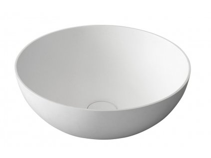 THIN kulaté umyvadlo na desku, 39x14,5cm, bílá mat