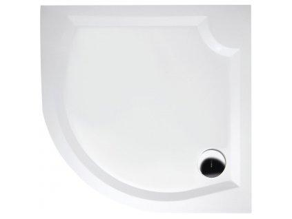 LAURA80 sprchová vanička z litého mramoru, čtvrtkruh 80x80x4cm, R500